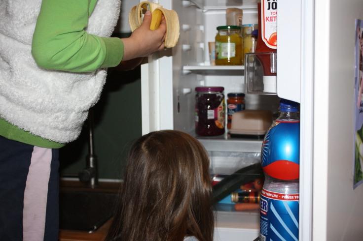 Kinder am Kühlschrank